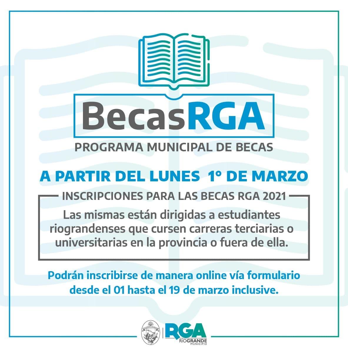 """El municipio abre las inscripciones para las """"Becas RGA 2021"""""""